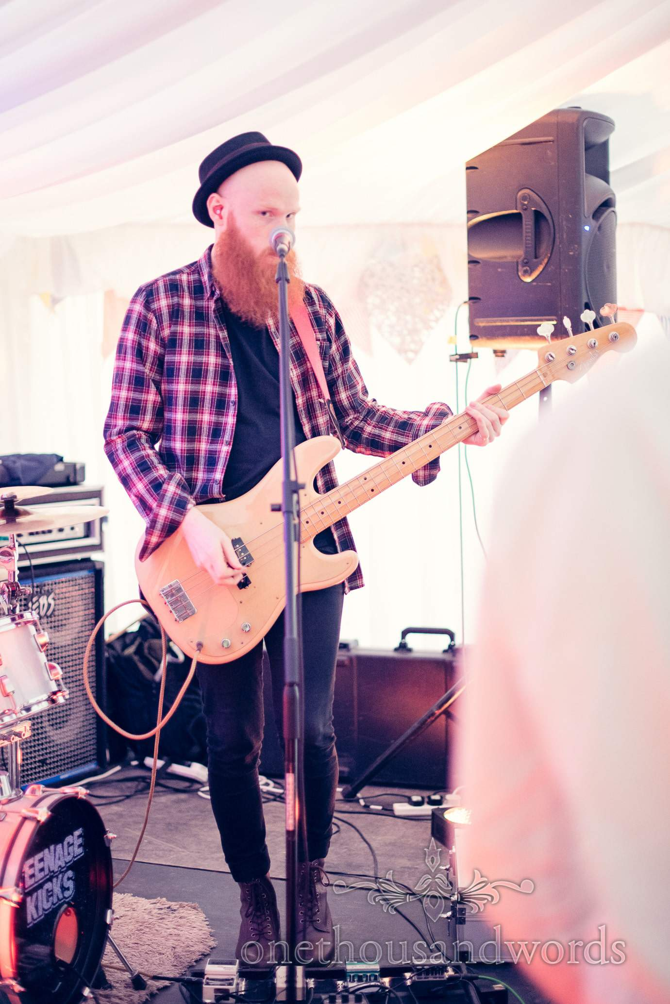 Teenage Kicks wedding band bass player at Deans Court Wedding
