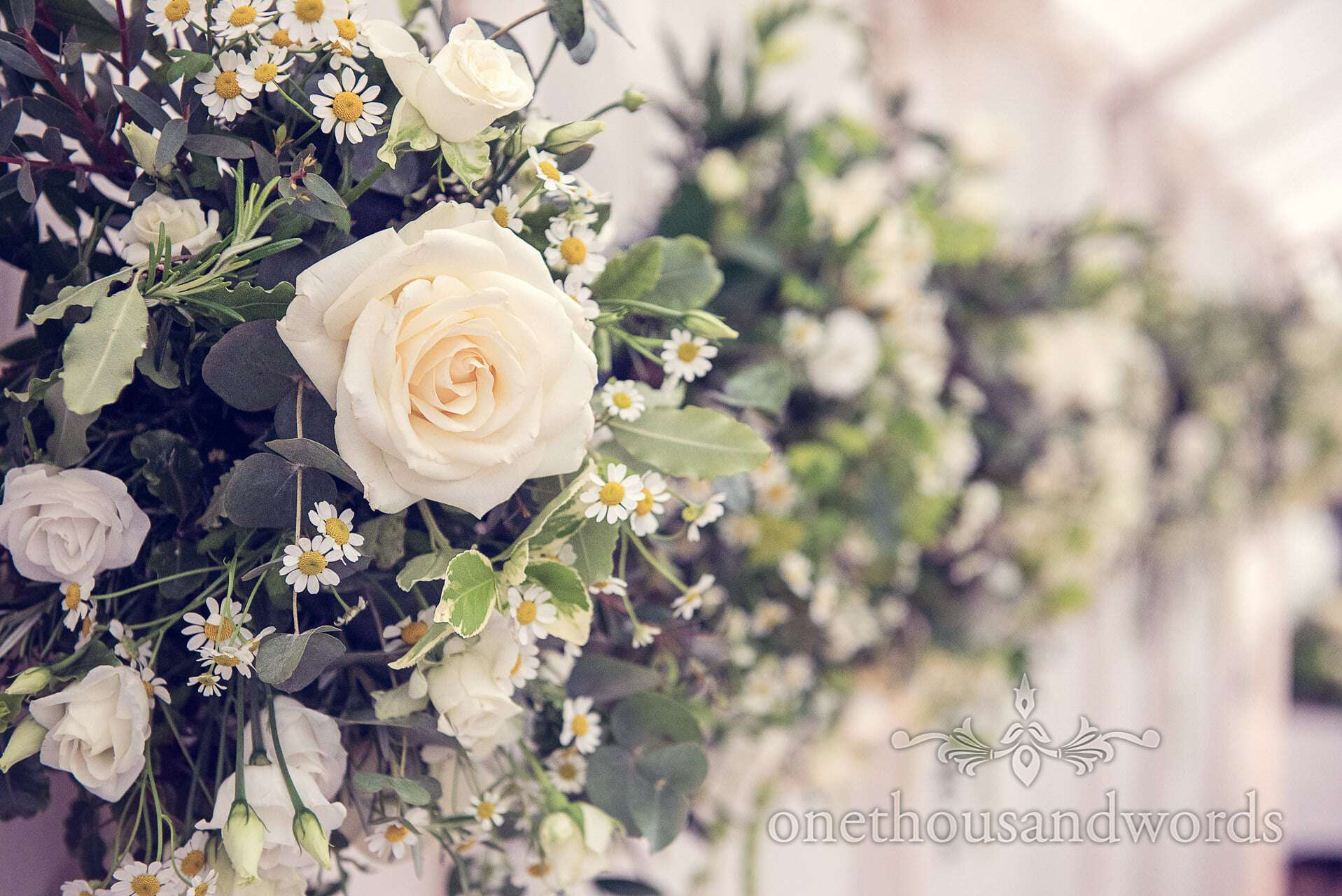 The Oak and The Owl White rose wedding flowers at The Priory Wareham wedding