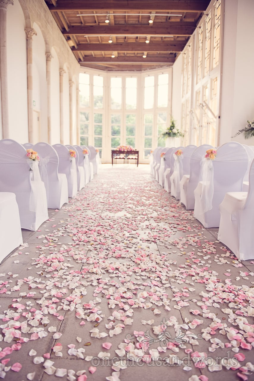 The Wintergarden at Highcliffe Castle Wedding Venue with Rose Petals