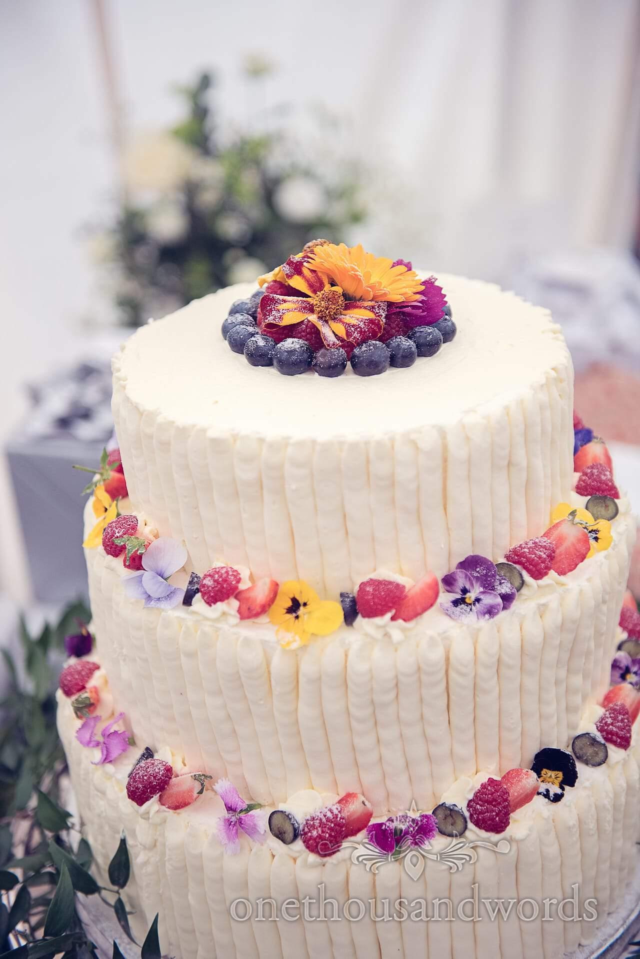 Three tier cream wedding cake by Mark Bennett Artisan Baker