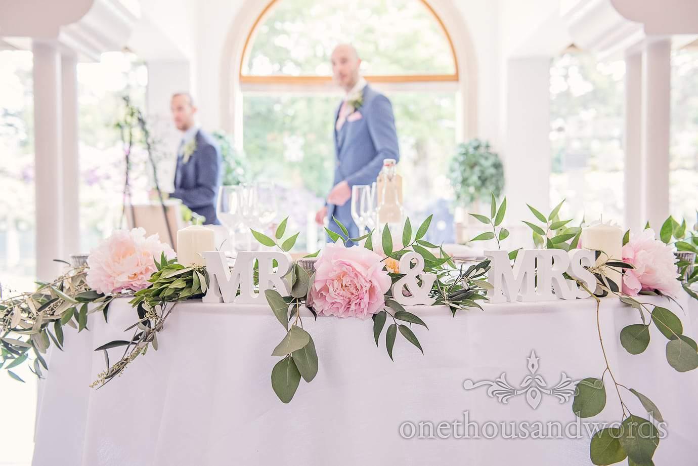 Top table decoration at Italian Villa wedding photographs