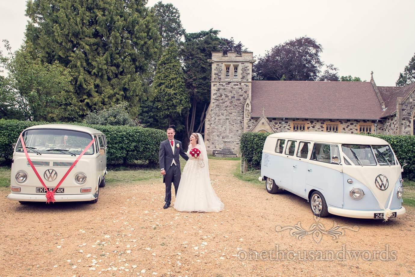 VW wedding camper vans from Dorset Dub Hire outside Church wedding in Dorset