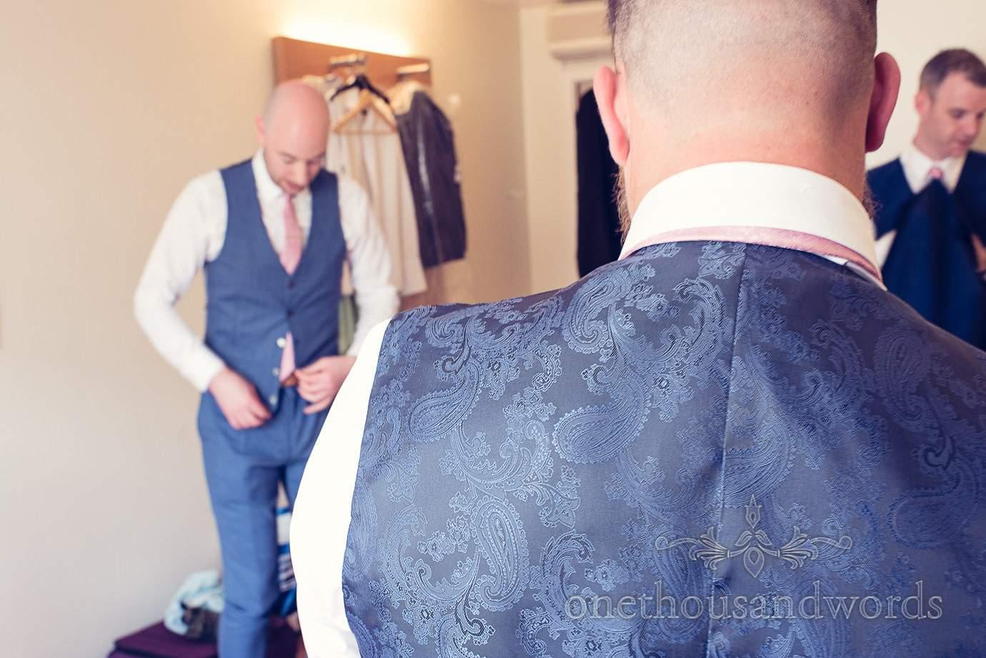 Waistcoat detail on morning of Italian Villa wedding