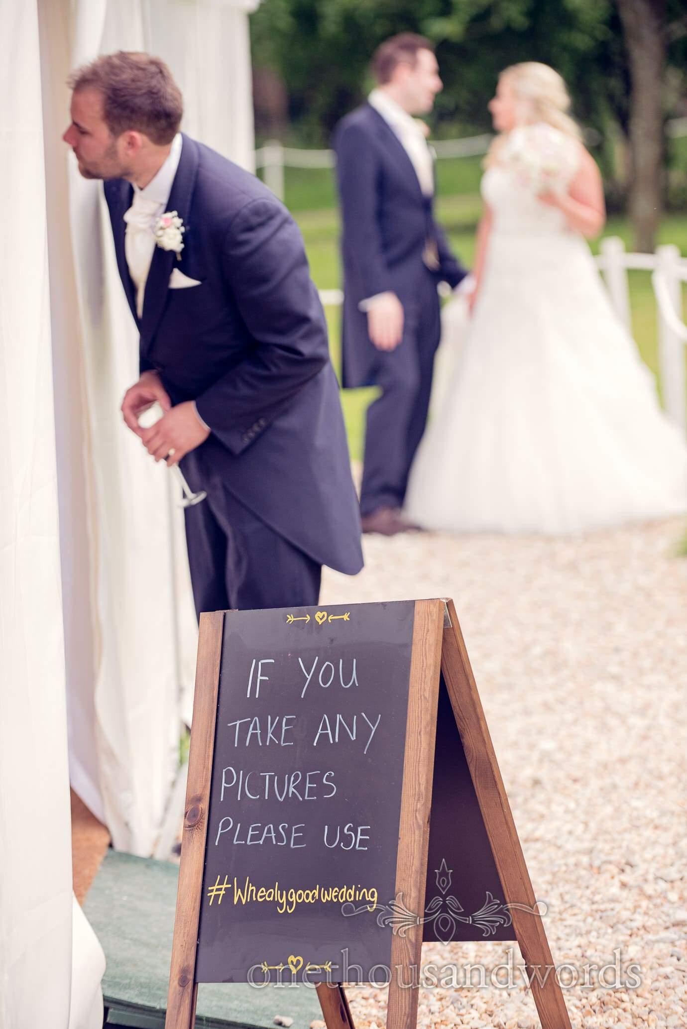 Wedding challk board sign at Deans Court Wedding venue