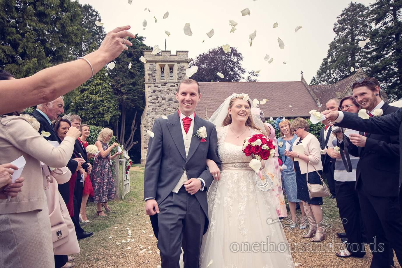 Wedding Confetti photograph at Kingston Lacy church wedding in Dorset