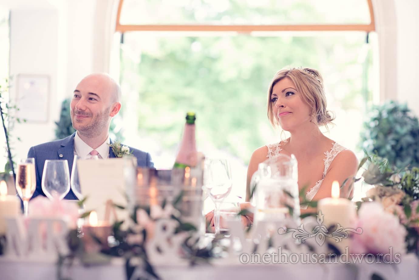 Wedding couple during speeches at Italian Villa Wedding Photographs