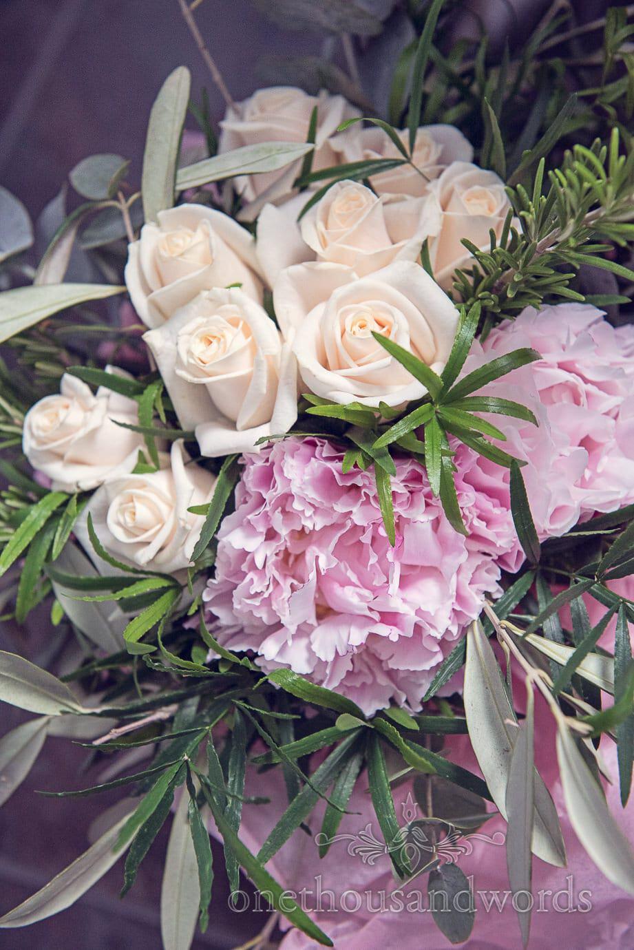 Wedding flowers at Italian villa wedding