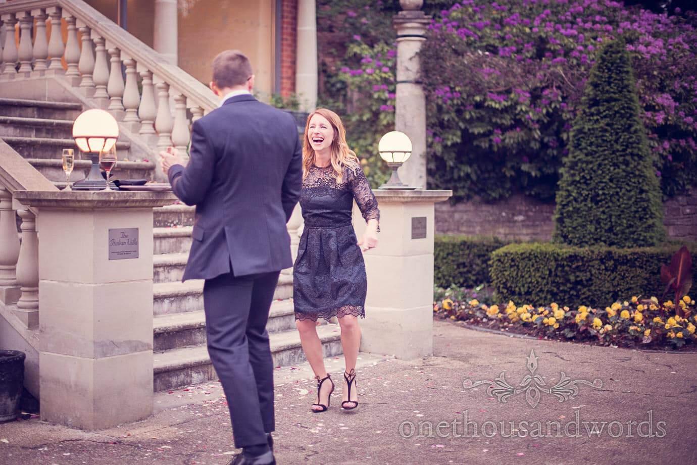 Wedding guests outside at Italian Villa Wedding Photographs