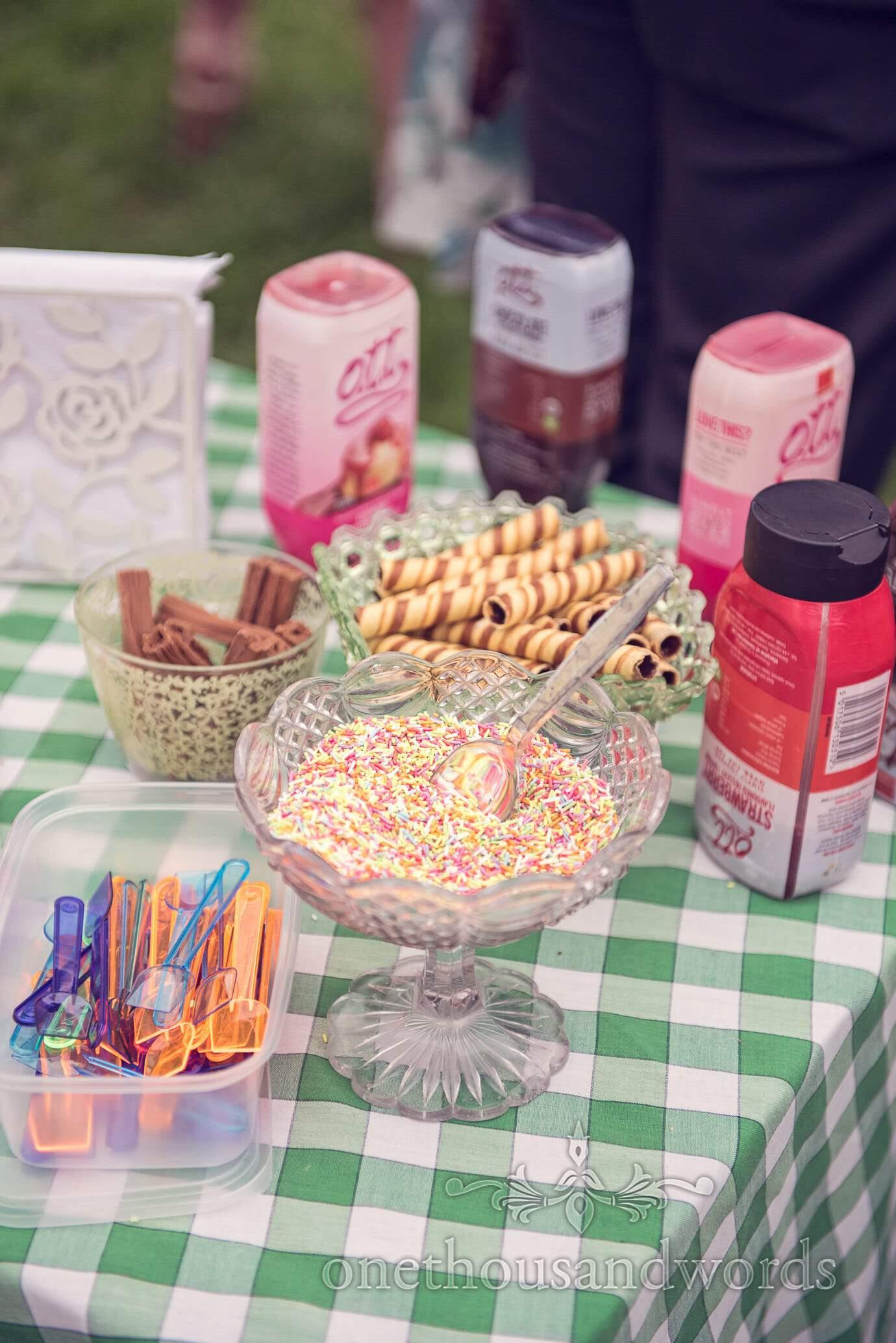 Wedding ice cream sprinkles and sauces at Wareham wedding
