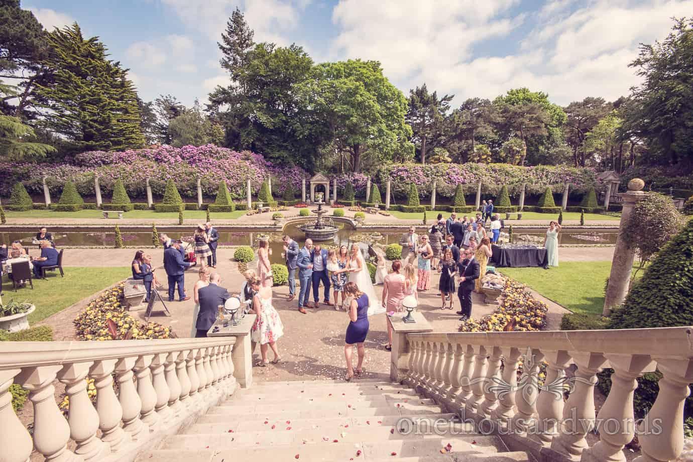 Wedding party in garden at Italian Villa Wedding Photographs