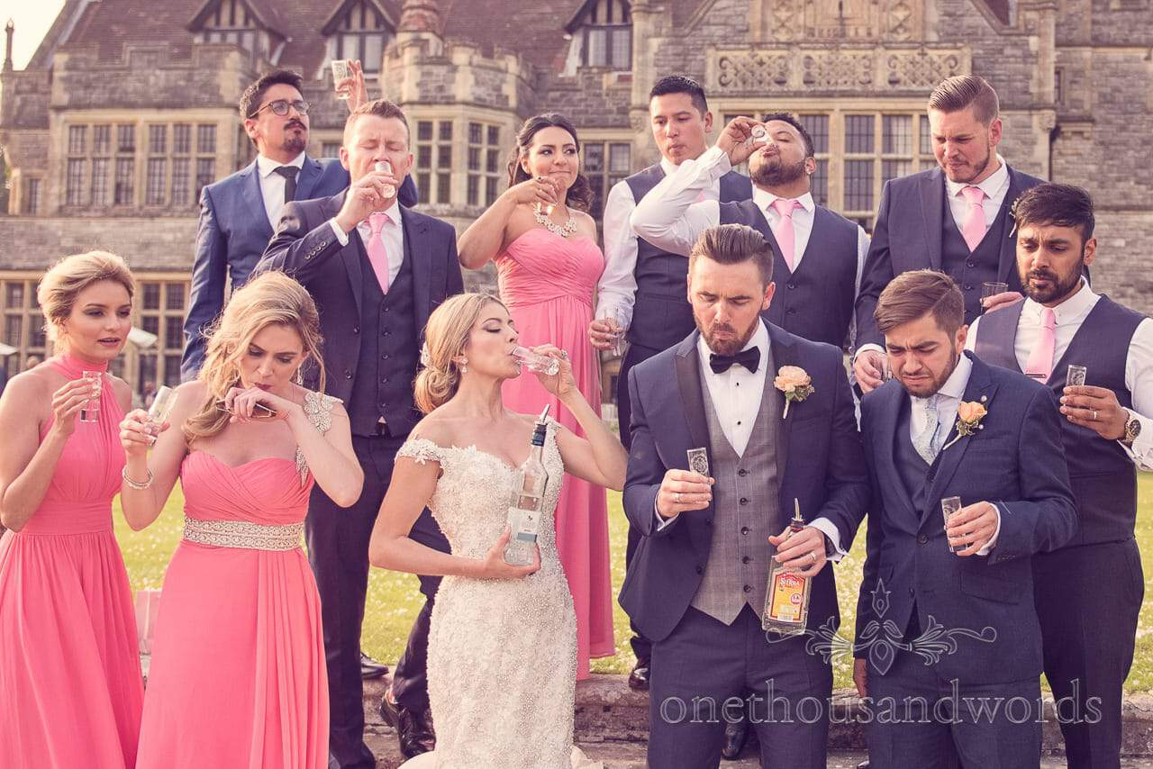 Wedding party reactions to drinking tequila at Rhinefield House Hotel