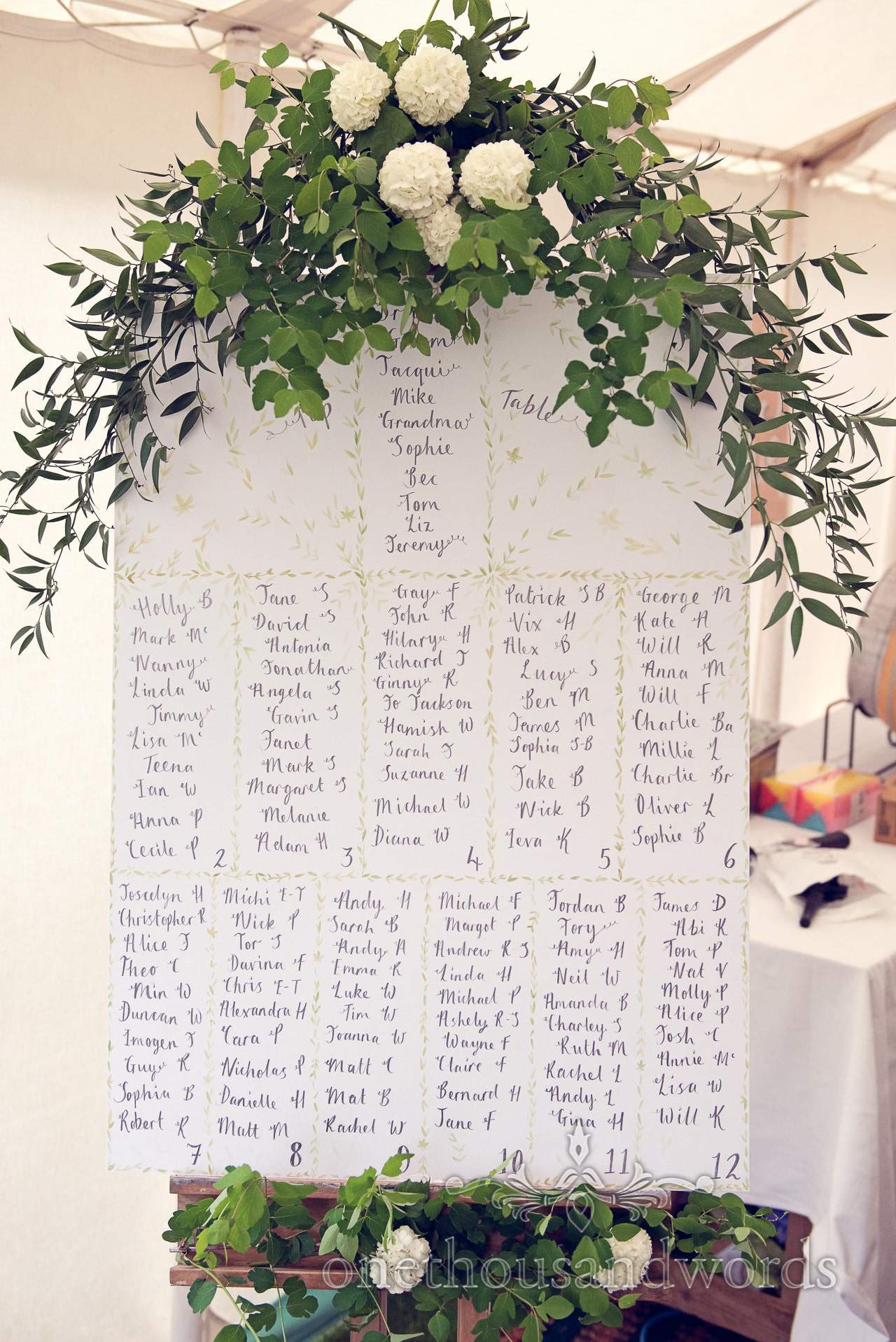 Wedding table plan with flowers at The Priory Wareham wedding