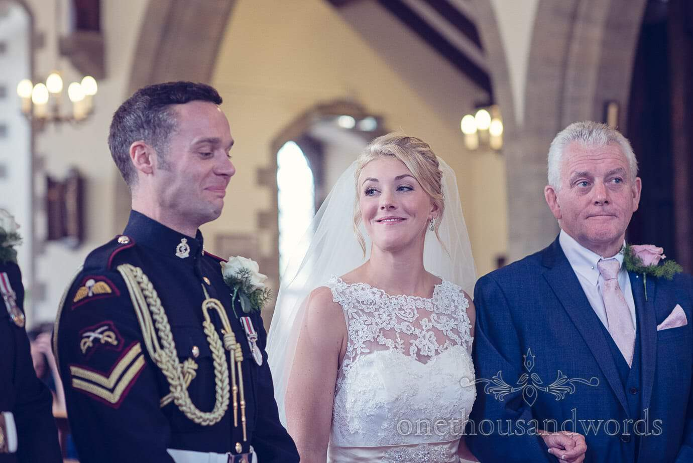 Bride and groom at St Marks Church wedding ceremony in Swange, Dorset