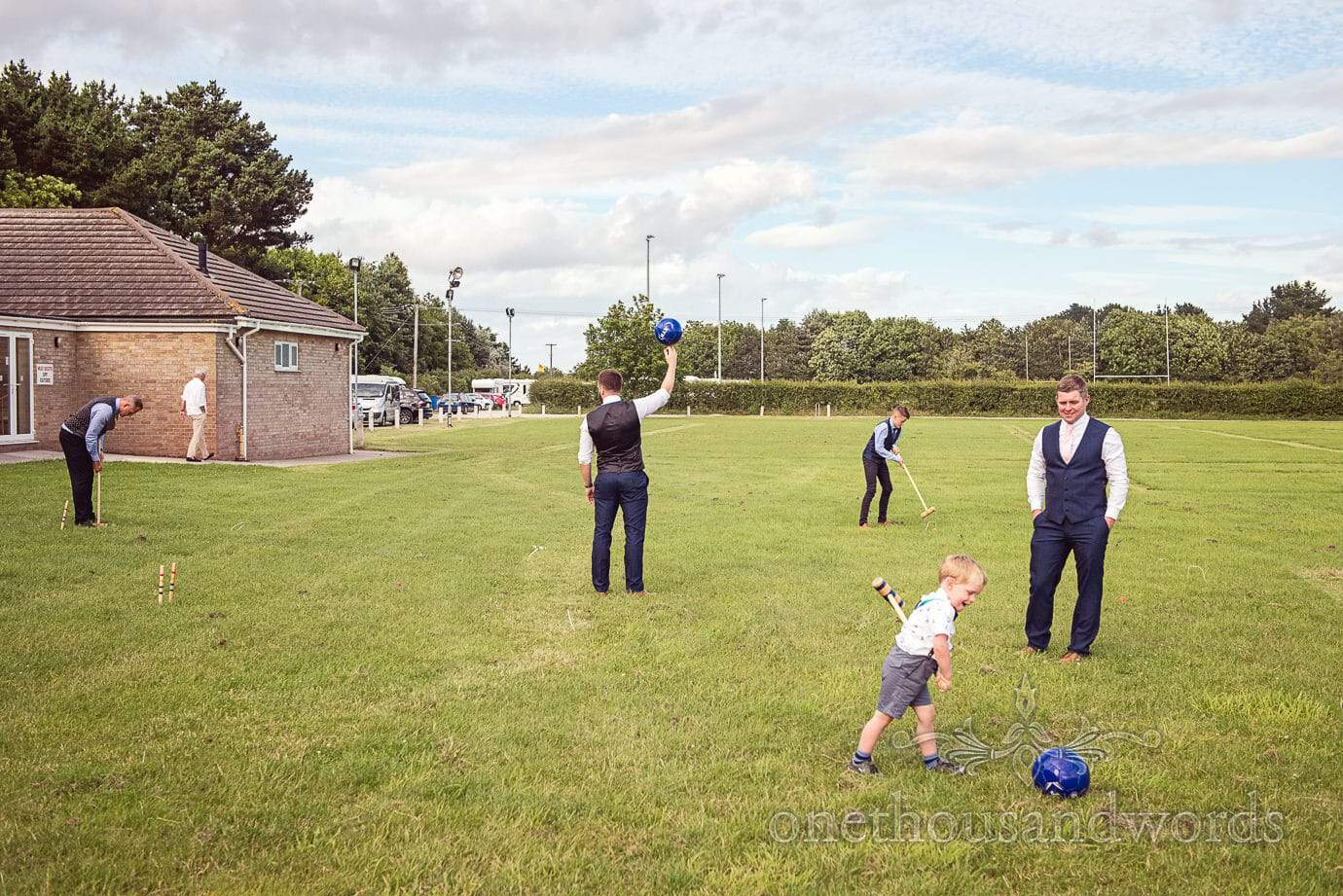 Croquet and football lawn games at Wareham Rugby Club Wedding
