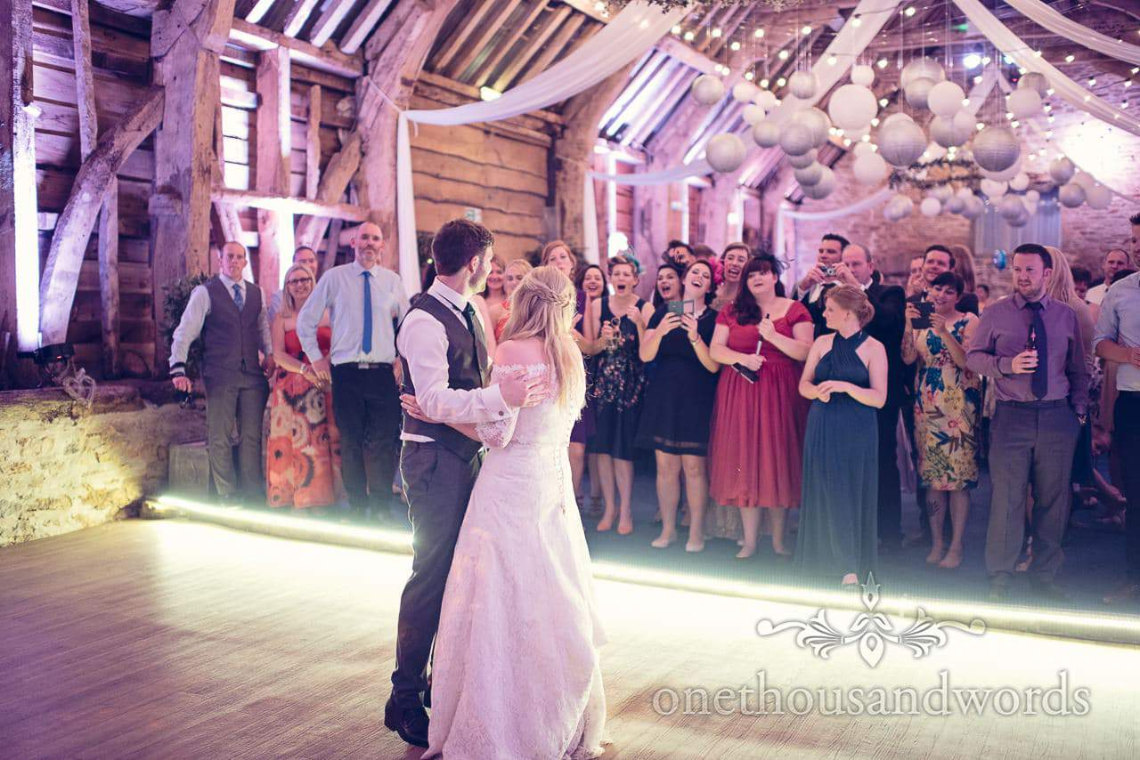 First dance at Stockbridge Farm Barn wedding venue in Dorset