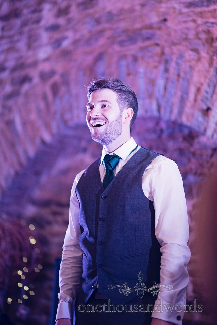 Grooms wedding speech at Stockbridge Farm Barn wedding venue in Dorset