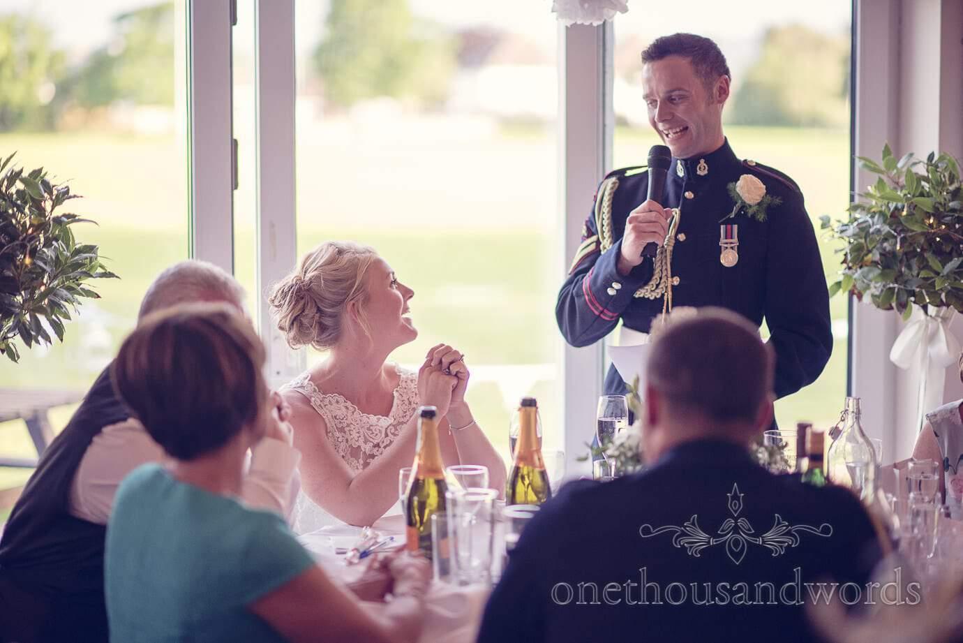 Groom's wedding speech in military uniform at Wareham Rugby Club wedding