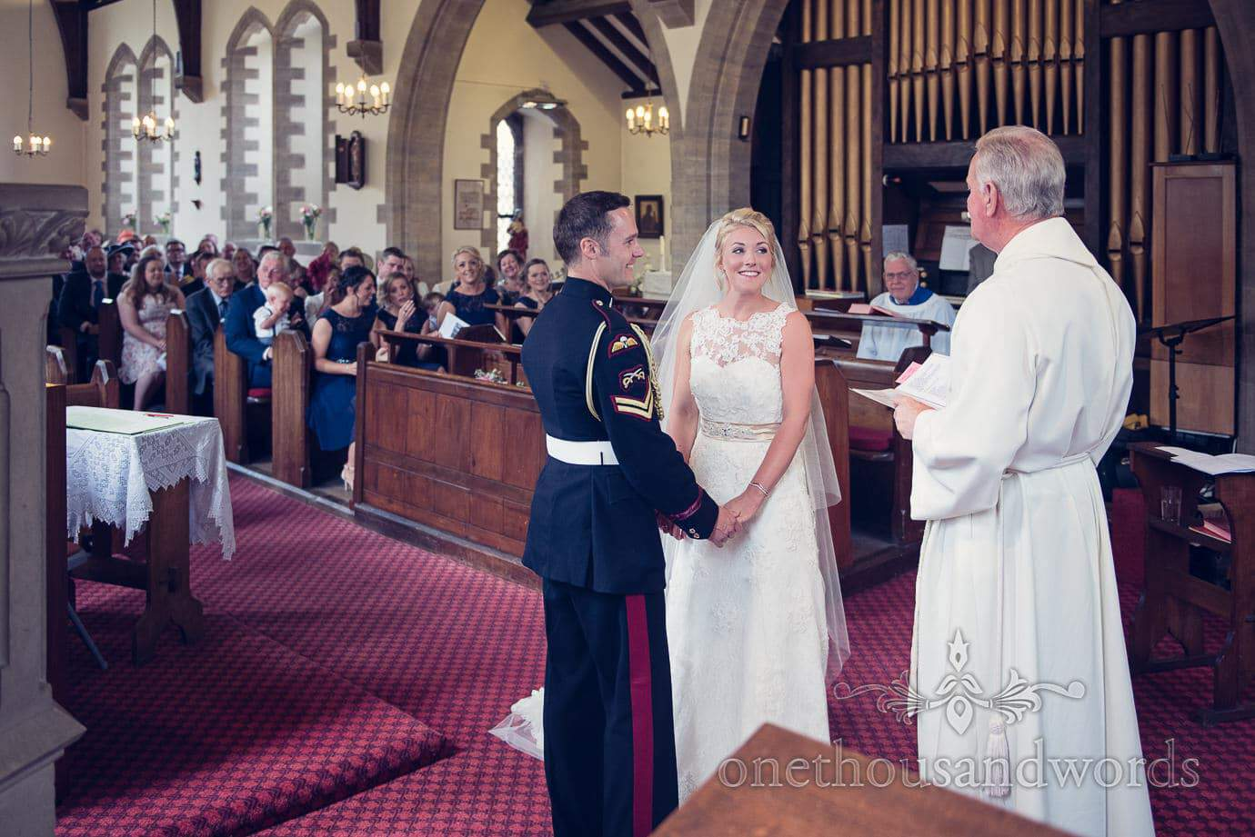 Military church wedding service at St Marks Church in Swanage, Dorset