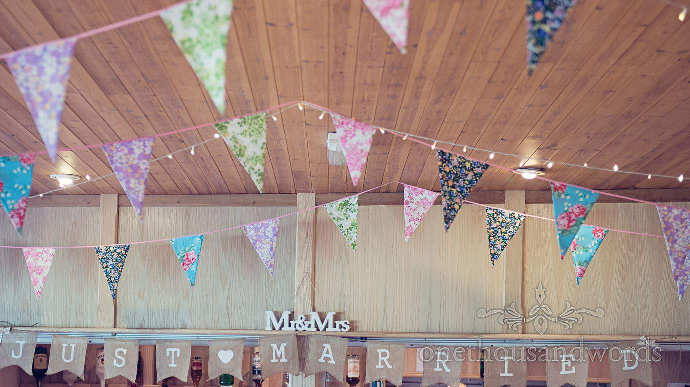 Perfectly Pretty Wedding bunting, fairy lights and signs at Wareham Rugby Club