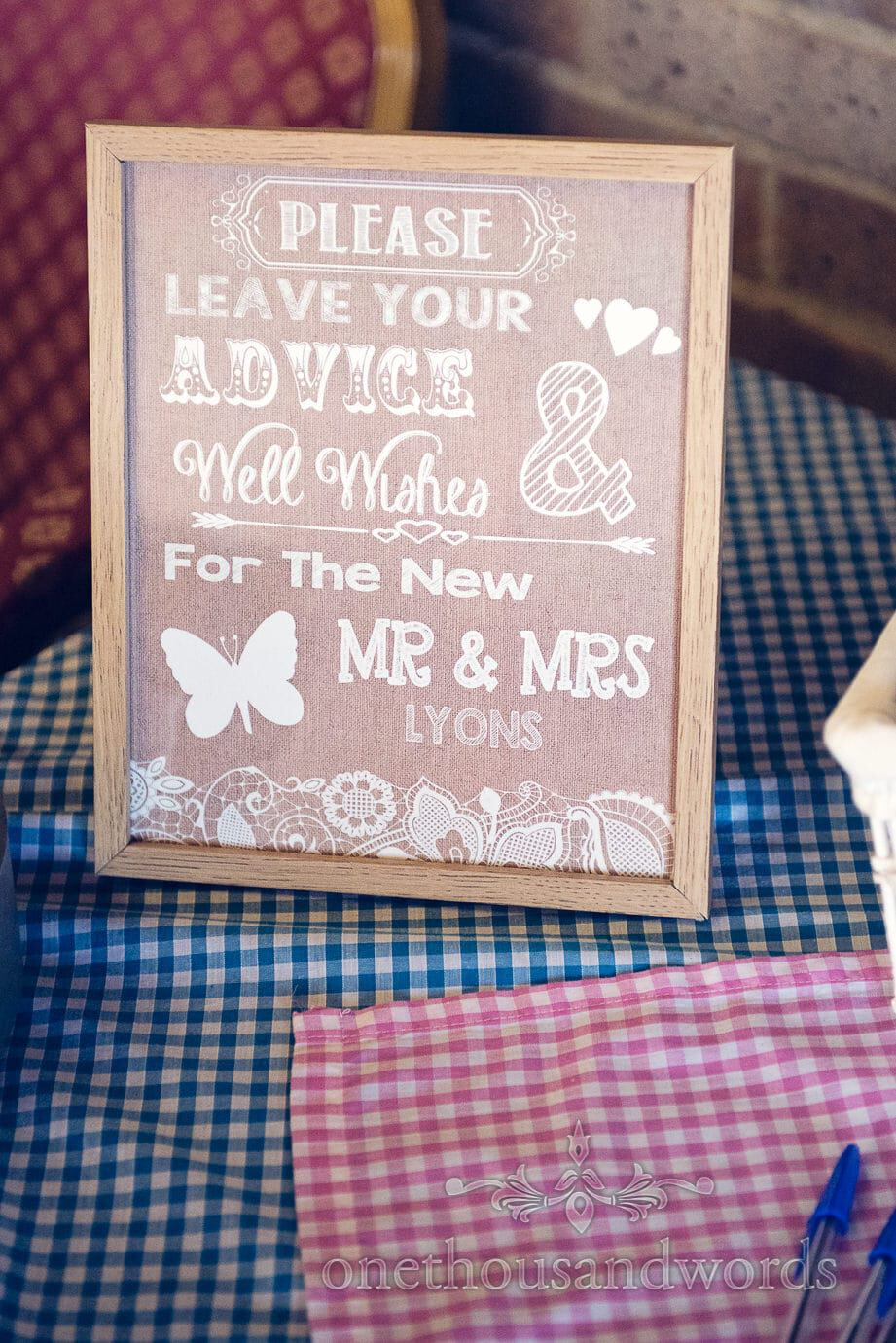Please leave your advise & well wishes for the new Mr & Mrs wedding sign