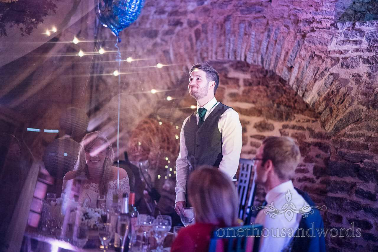 Prism photography during grooms speech at barn wedding venue