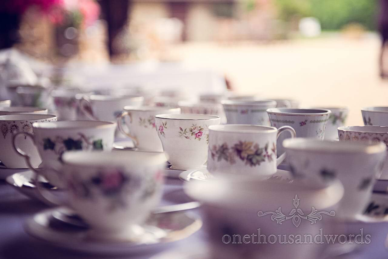 Retro mixed china cups and saucers for wedding afternoon tea and cake