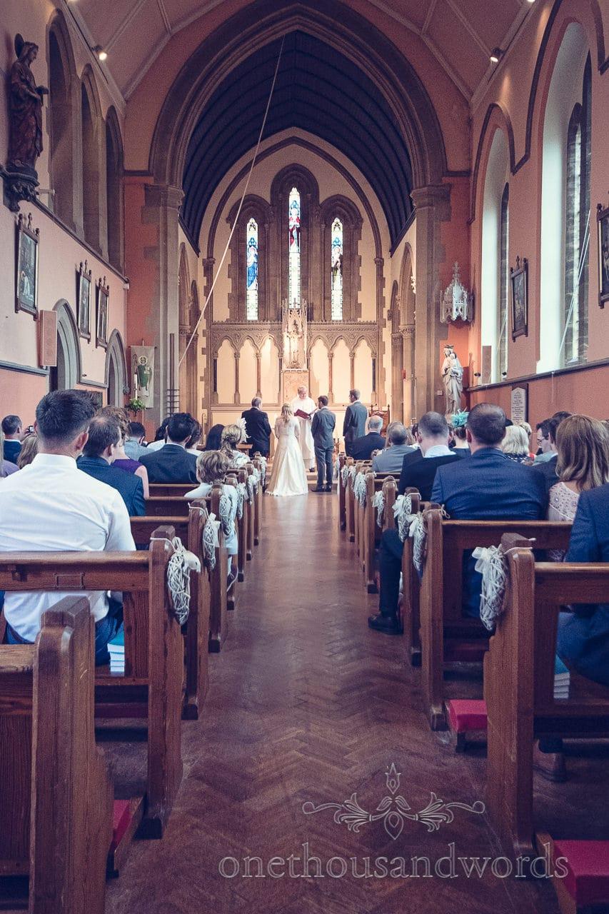 Sherborne Catholic Church wedding ceremony photograph
