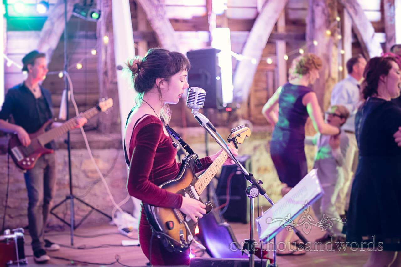 Sweet and Lowdown wedding band singer at Barn wedding venue in Dorset