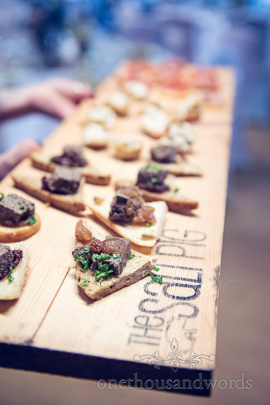 The Salt Pig, Wareham Dorset Wedding Canapés on wooden board