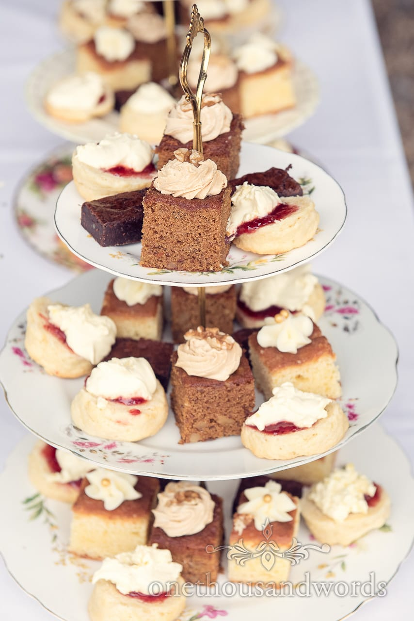 Three tier cake plates at wedding high tea drinks reception