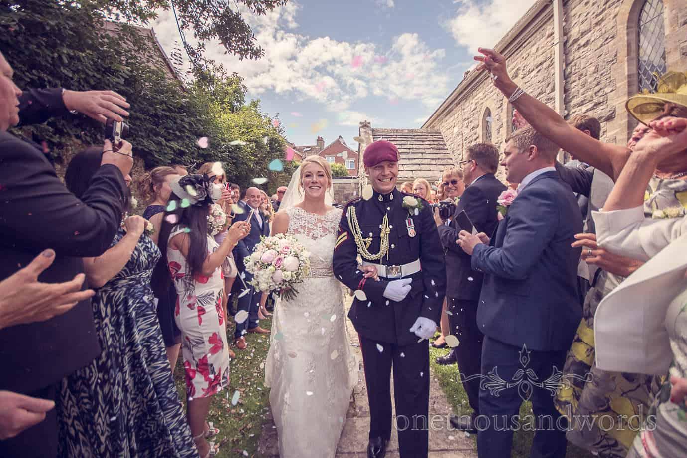 Wedding confetti at Swanage church Military wedding