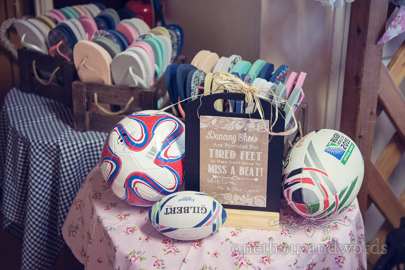 Wedding flip flops for dancing with Dancing shoes sign and balls