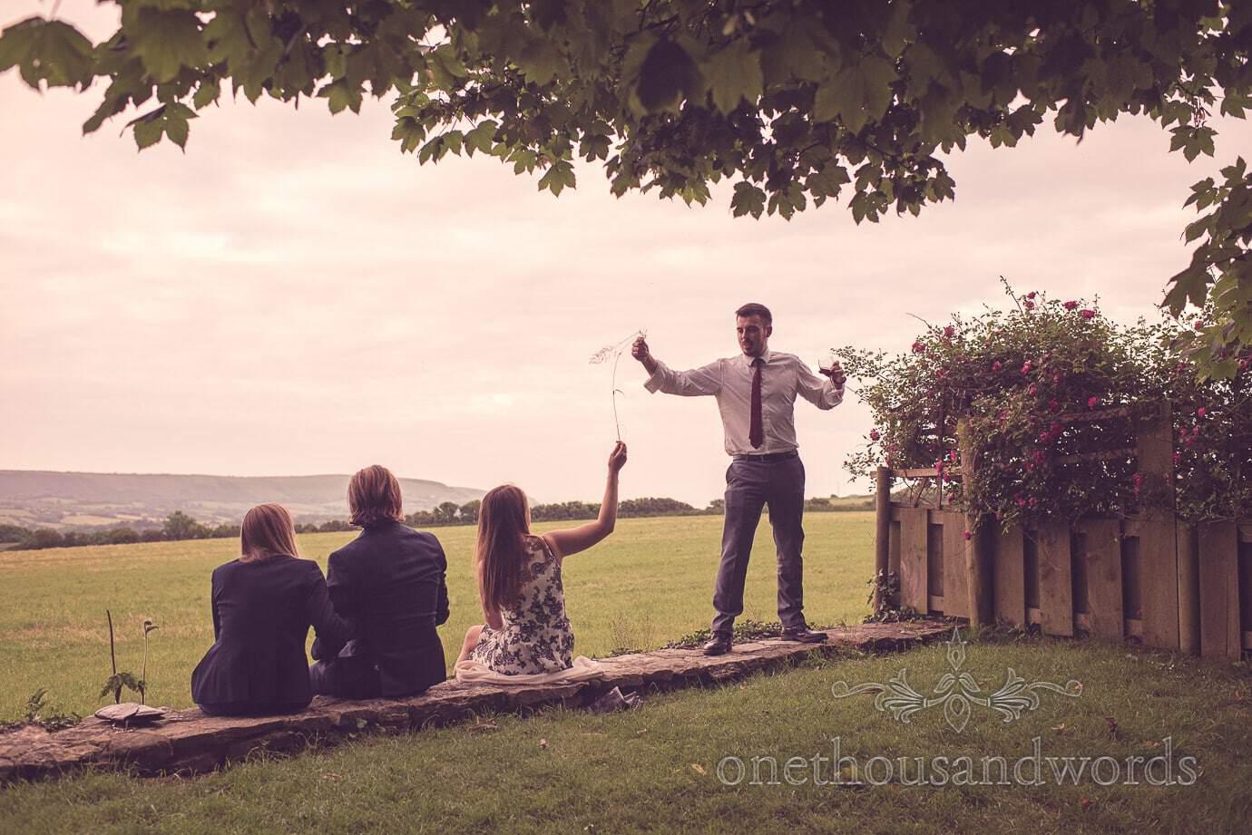 Wedding guests joke around at Kingston Country Courtyard