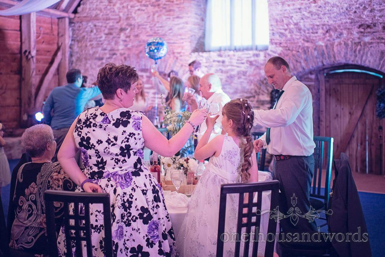 Wedding speech toasts in barn wedding venue in dorset