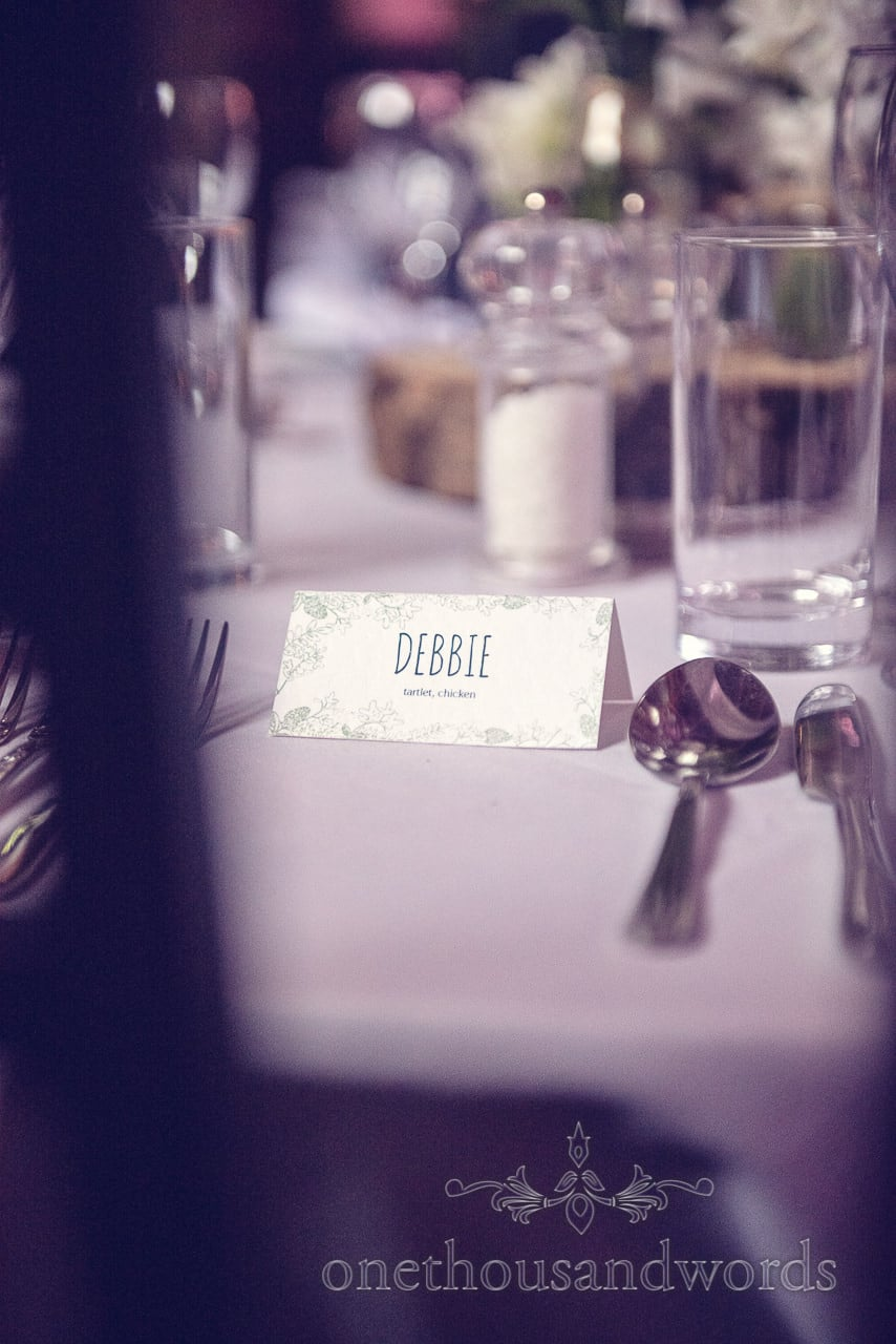 Wedding table place name at barn wedding venue in Dorset