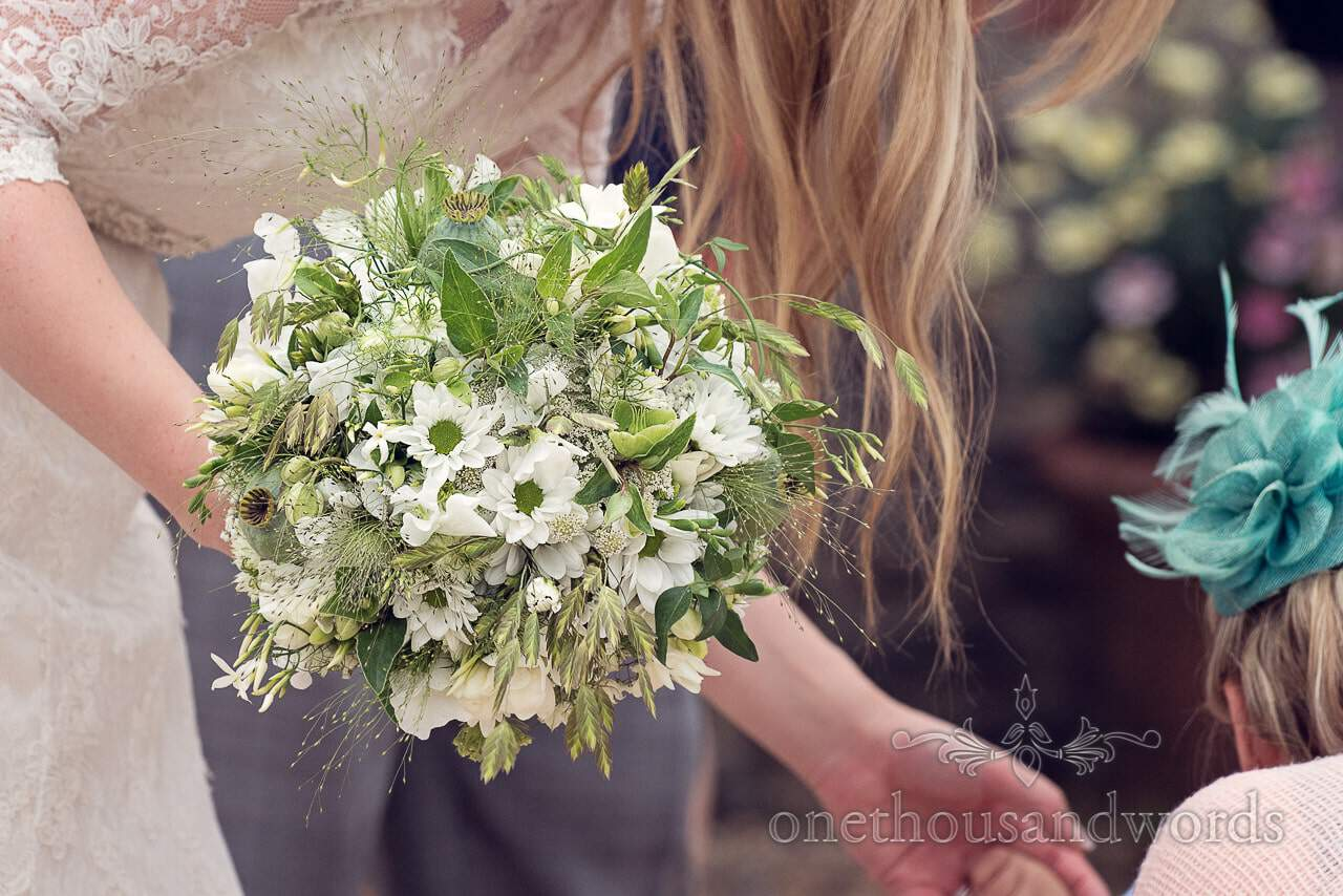 White and green bridal bouquet wedding photograph