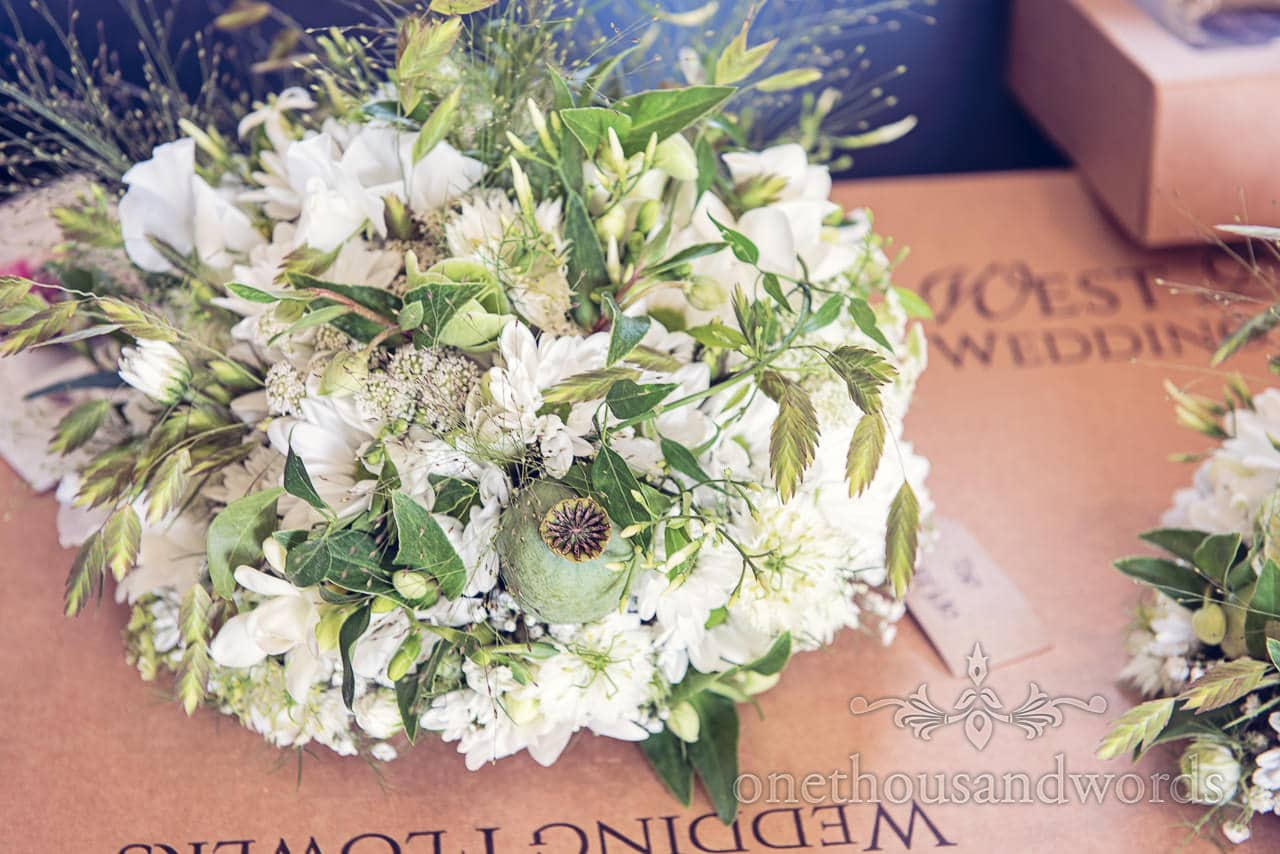 White and green wedding bouquet flowers from Jessie Stones Wedding Florist