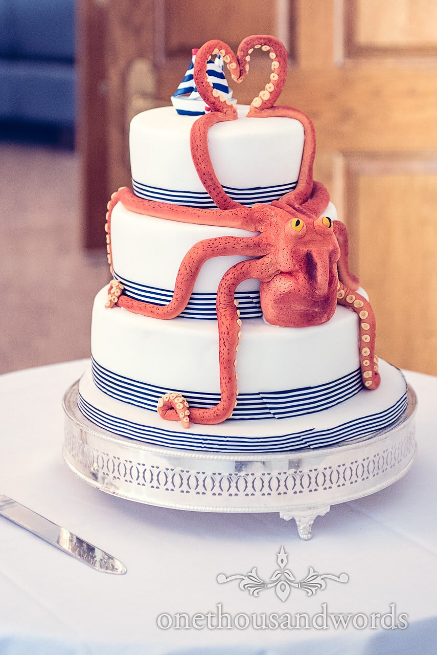 Amazing octopus wedding cake for nautical themed wedding
