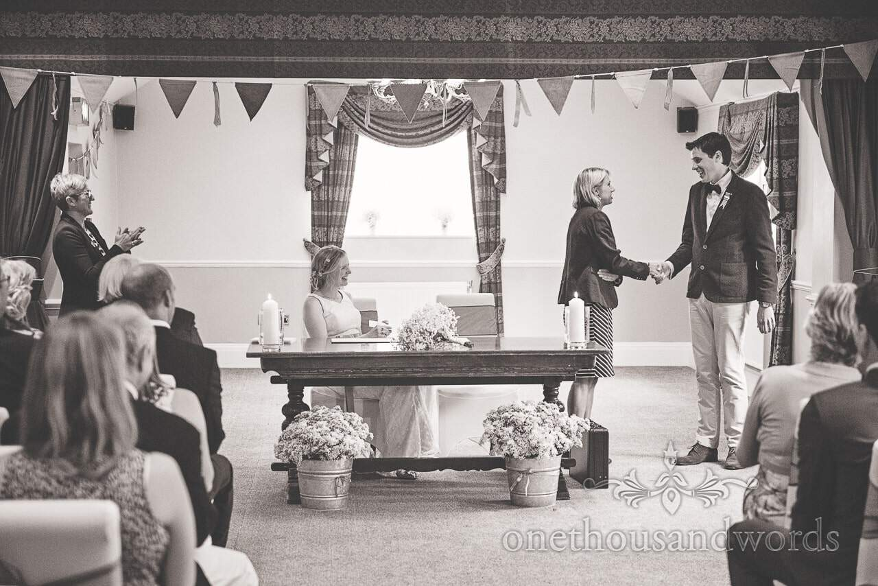 Balmer Lawn Hotel Wedding ceremony black and white wedding photograph