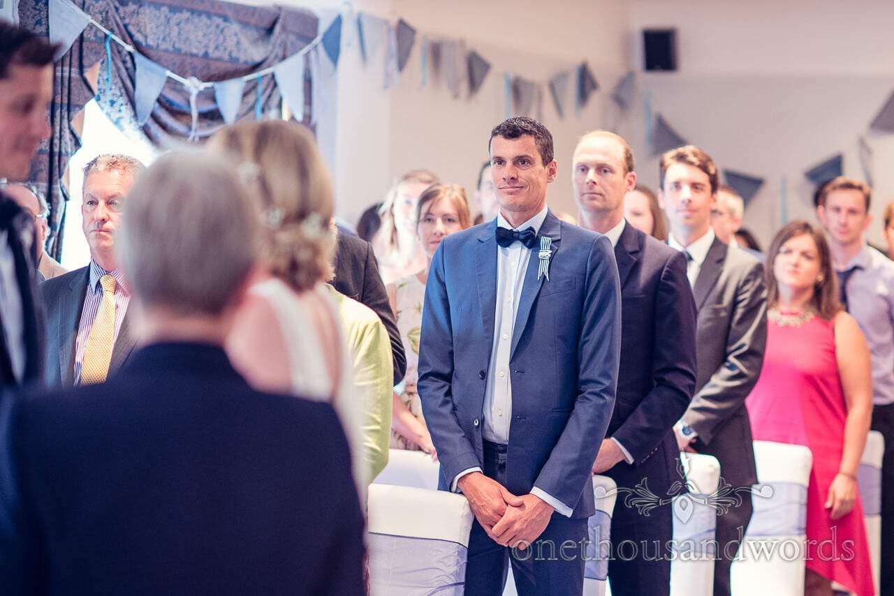 Best man in blue wedding suit at Balmer Lawn Hotel Wedding ceremony