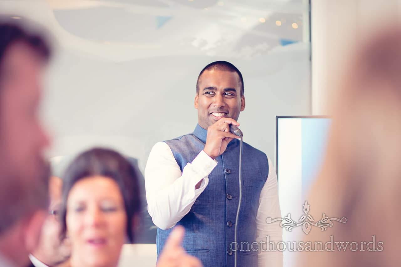 Best man portrait during Harbour Heights Hotel Wedding speeches