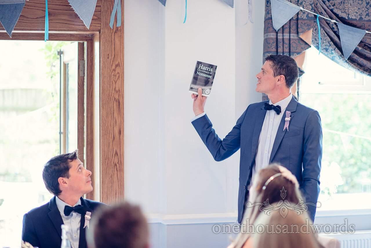Best man's speech dictionary prop at Balmer Lawn Hotel Wedding speeches