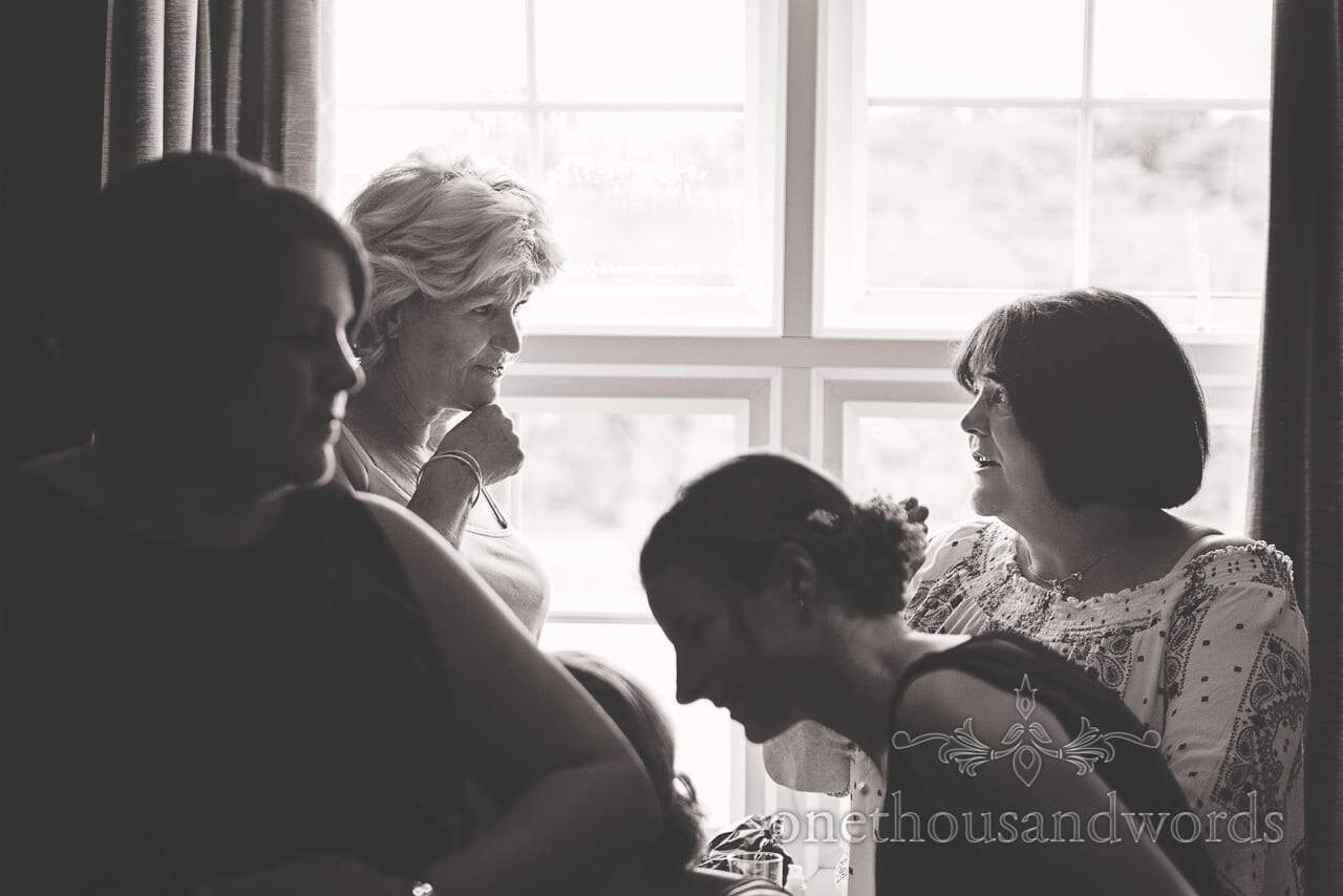 Black and White mother of the bride portrait photograph during wedding preparations