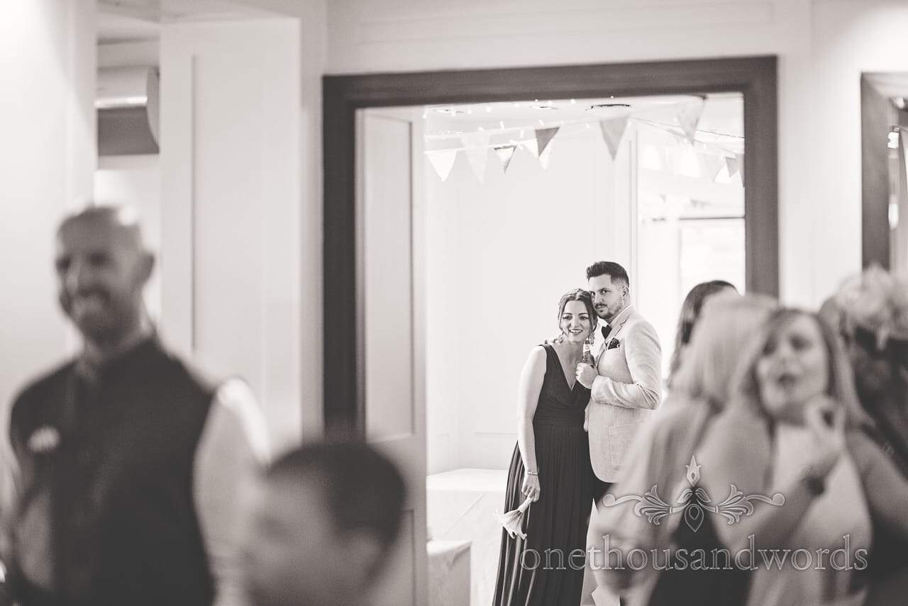 Black and white wedding photograph of guests at Harbour Heights Hotel Wedding