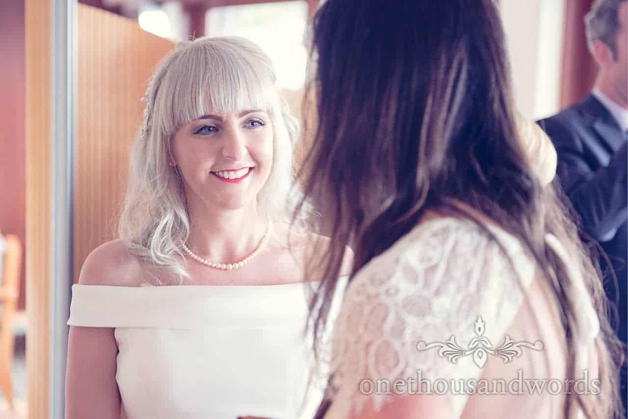 Blonde bride with pearl neacklace portrait photograph