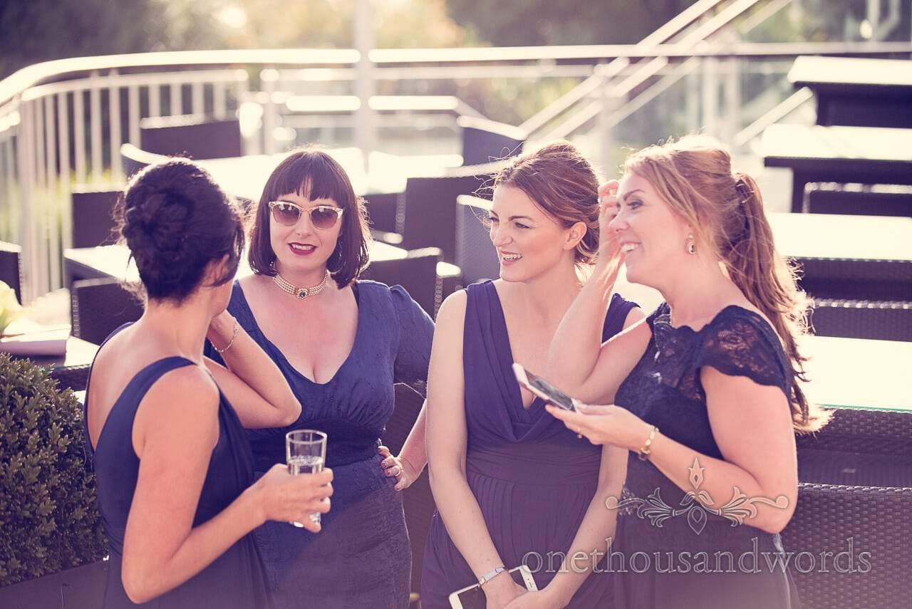 Blue bridesmaids dresses at Harbour Heights Hotel Wedding