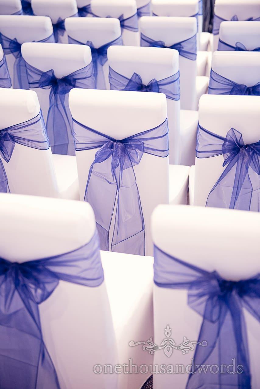 Blue wedding chair shashes at Balmer Lawn Hotel Wedding