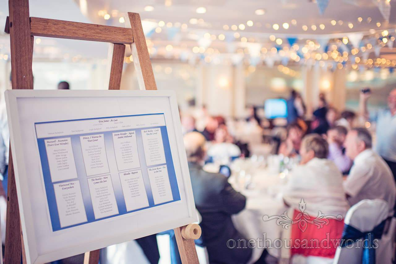 Blue wedding table plan on wooden easle at Harbour Heights Hotel wedding breakfast
