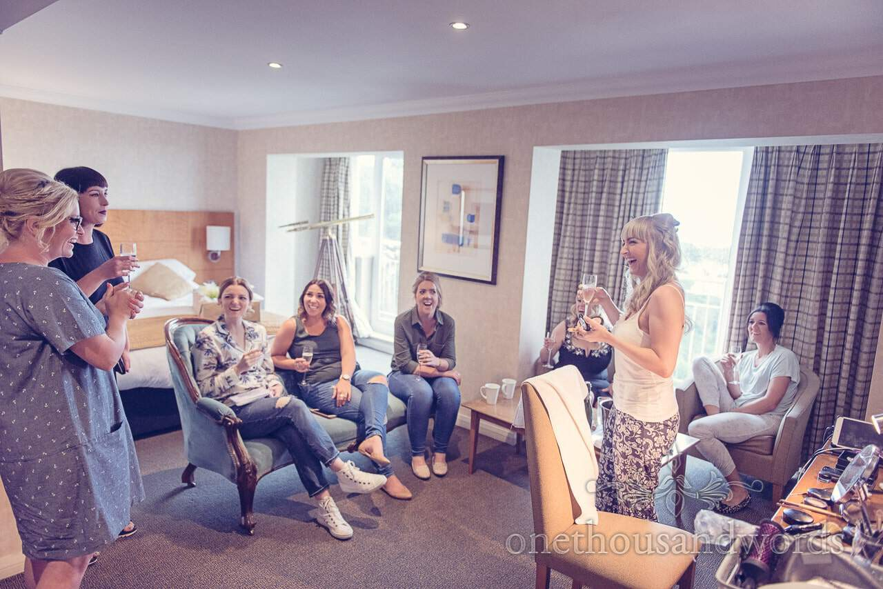 Bride and bridesmaids in bridal suite at Harbour Heights Hotel Wedding venue