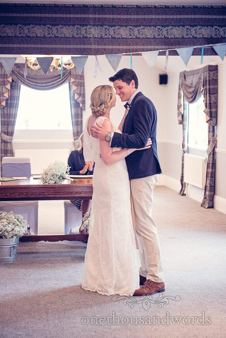 Bride and groom at Balmer Lawn Hotel Wedding ceremony